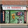 SJ9494 : J B Barbers: Shutter Art by Gerald England
