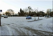 SO8454 : A frosty morning in Cripplegate Park car park, Tybridge Street, Worcester by P L Chadwick