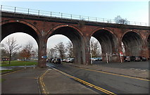 SO8455 : Viaduct arches 10-13, Worcester by Jaggery