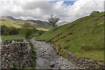 NY2101 : Stream near Road to Hardknott Pass, Cumbria by Christine Matthews