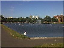 TQ3377 : Burgess Park: lake by Stephen Craven