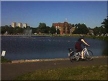 TQ3377 : Burgess Park: cyclist by Stephen Craven