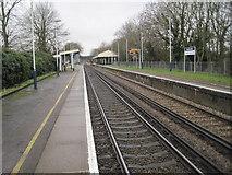 TQ1070 : Kempton Park railway station, Surrey by Nigel Thompson