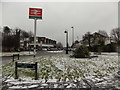 TQ2258 : Epsom: snow outside Tattenham Corner station by Chris Downer
