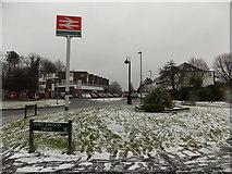 TQ2258 : Epsom: snow outside Tattenham Corner station by Chris Downer