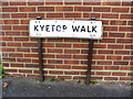 TQ8064 : Vintage street nameplate, Kyetop Walk, Park Wood by Chris Whippet