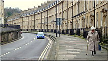 ST7565 : Lady with bag; Roman Road, Bath by Jonathan Billinger