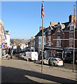 SO5924 : Town centre flagpoles in Ross-on-Wye by Jaggery