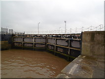 TA1228 : The lock gates at Alexandra Dock, Hull by Ian S