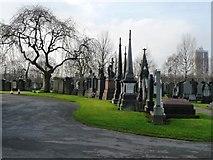SJ7993 : Memorials, Stretford Cemetery by Christine Johnstone