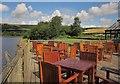 SK0197 : Cafe tables, Arnfield Reservoir by Derek Harper