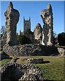 TL8564 : Bury St Edmunds: cathedral tower and abbey ruins by John Sutton