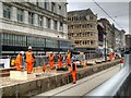 SJ8498 : Rebuilding the Metrolink Stop at Market Street by David Dixon
