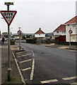 SN5903 : Give way on Caecerrig Road, Pontarddulais by Jaggery