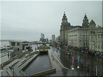 SJ3390 : Liver  Building  and  Pier  Head  from  Museum  of  Liverpool by Martin Dawes
