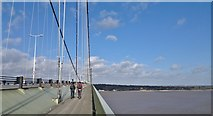 TA0224 : Nearing the middle of the Humber Bridge by Chris Morgan