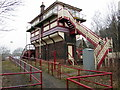 NY7063 : Signal Box, Haltwhistle Railway Station by Andrew Curtis