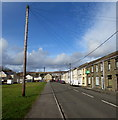 SS8593 : Wires over Coegnant Road, Nantyffyllon by Jaggery