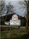 TM2176 : Wingfield Village Name sign on Syleham Road by Adrian Cable