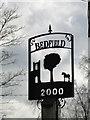 TM2166 : Bedfield village sign (detail) by Adrian S Pye
