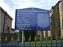 SK3875 : Sign for the Seventh Day Adventist Church, Old Whittington by JThomas