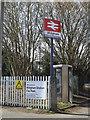 SU5766 : Midgham Railway Station sign by Geographer