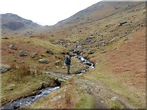 NY3614 : Beck crossing in Grisedale by Oliver Dixon