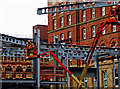 SE2933 : Steel structure being erected in Leeds by Elland Steel by Steve  Fareham