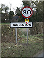 TM2483 : Harleston Village Name sign on Rushall Road by Adrian Cable