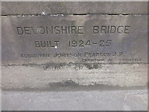 SK2572 : Inscription on Devonshire Bridge Baslow by Monica Stagg