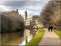 SE1438 : Canal Towpath approaching Saltaire Mills by David Dixon