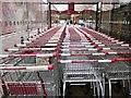 SX8966 : Trolleys at Sainsbury's, The Willows by Derek Harper