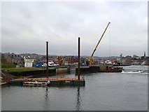SX9291 : Construction work at Trews Weir on River Exe by David Smith