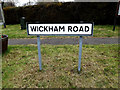 TM0669 : Wickham Road sign by Adrian Cable