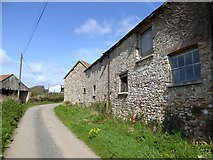 SY2197 : Old stone buildings at Cookshayes Farm by David Smith