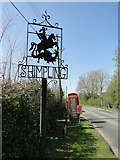TM1583 : Shimpling village sign, telephone box and Dickleburgh Road by Adrian S Pye