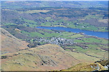 SD3097 : Coniston Water and village from the summit of the Old Man by David Martin