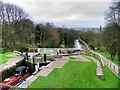 SE1039 : Leeds and Liverpool Canal; Looking Down the Staircase Locks at Bingley by David Dixon