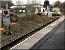 SN6212 : Stop sign at Ammanford railway station by Jaggery