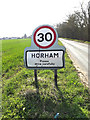 TM2172 : Horham Village Name sign on the B1117 Stradbroke Road by Adrian Cable