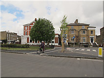 TQ4077 : End of new cycle lane at the Royal Standard by Stephen Craven