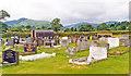 SJ1226 : Cemetery at Llanrhaeadr-ym-Mochnant, view up Afon Rhaeadr valley, 1993 by Ben Brooksbank