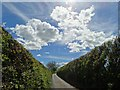 SE3905 : April sky and the lane from Tyers Hall Farm by Neil Theasby