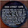 SP3379 : Cook Street Gate black plaque, Coventry by Jaggery