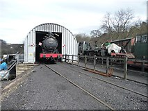NZ8204 : Steam locomotive 63395 in a shed at Grosmont by Christine Johnstone