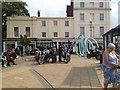 SP3165 : Motorcyclists outside All Saints Parish Church, Leamington by Robin Stott