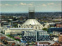 SJ3590 : View from St John's Beacon -  Liverpool Metropolitan Cathedral by David Dixon