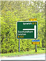 TM3866 : Roadsign on the A12 Main Road by Adrian Cable