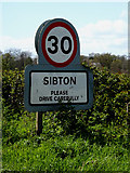 TM3669 : Sibton Village Name sign by Adrian Cable