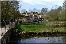 SP1106 : Bibury;  Arlington Row and the stone bridge over the River Coln by Michael Garlick